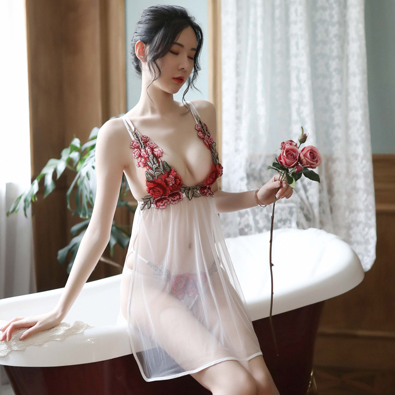 Sexy female summer lace embroidered rose ultra-thin sexy lingerie side slit sling gauze nightdress set