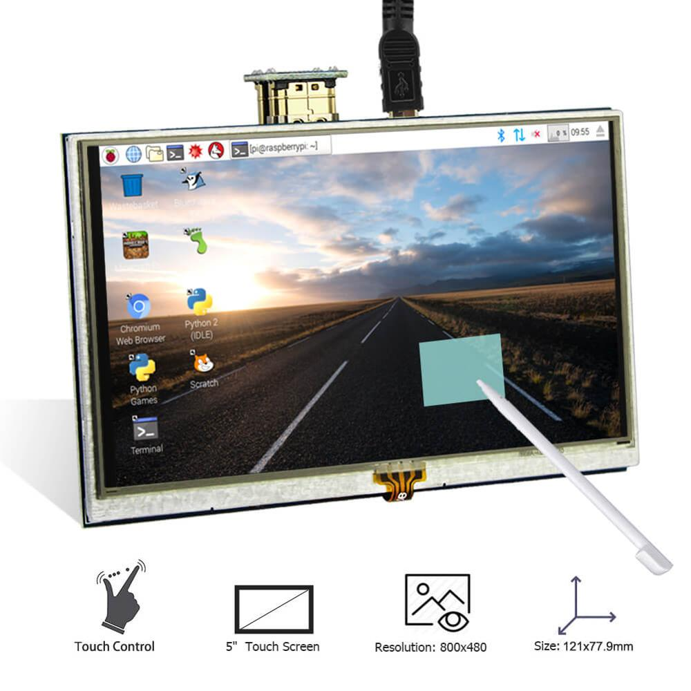 LCD Display 5 Inch HD Displays 800x480 Backlight Control 5'' TFT Monitor Resistive Touch Screen for Raspberry Pi 4B 3B+
