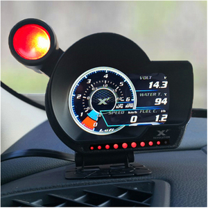 LUFI XF OBD2 Plug digital Turbo boost oil pressure temperature gauge for car Afr RPM Fuel Speed EXT Oil Meter English Version