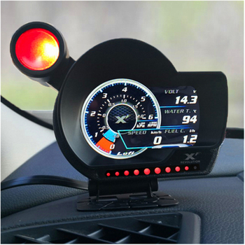 LUFI XF OBD2 Plug digital Turbo boost oil pressure temperature gauge for car Afr RPM Fuel Speed EXT Oil Meter English Version image