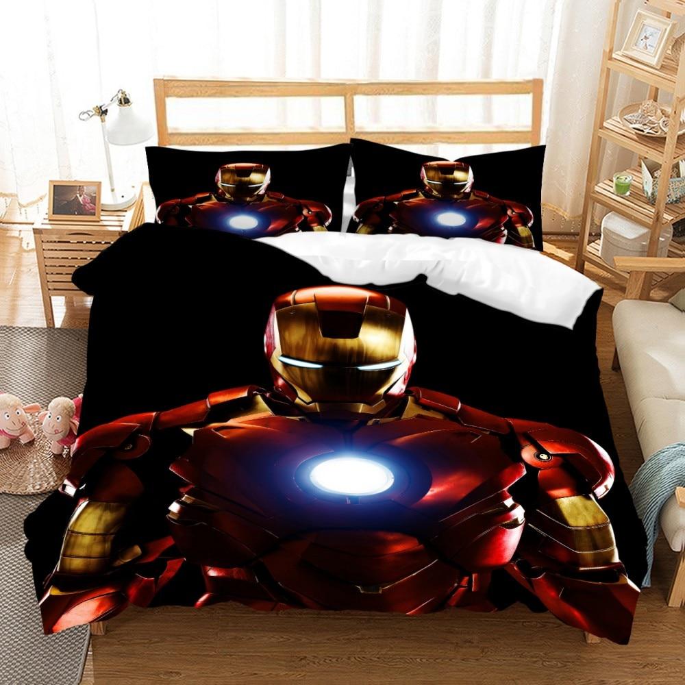 Super Hero Film Iron Man Bed Sets Cartoon Bedspread Child Room Boy Comforter Bedding Set Microfiber Duvet Cover Decor Bed Cover