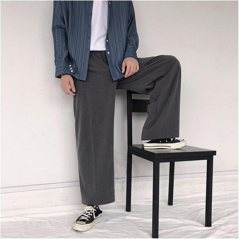 Image 3 - 2019 весна и осень новый тренд личности дикие повседневные  японские Ретро свободные широкие брюки черный серый/армейский зеленый M  2XL