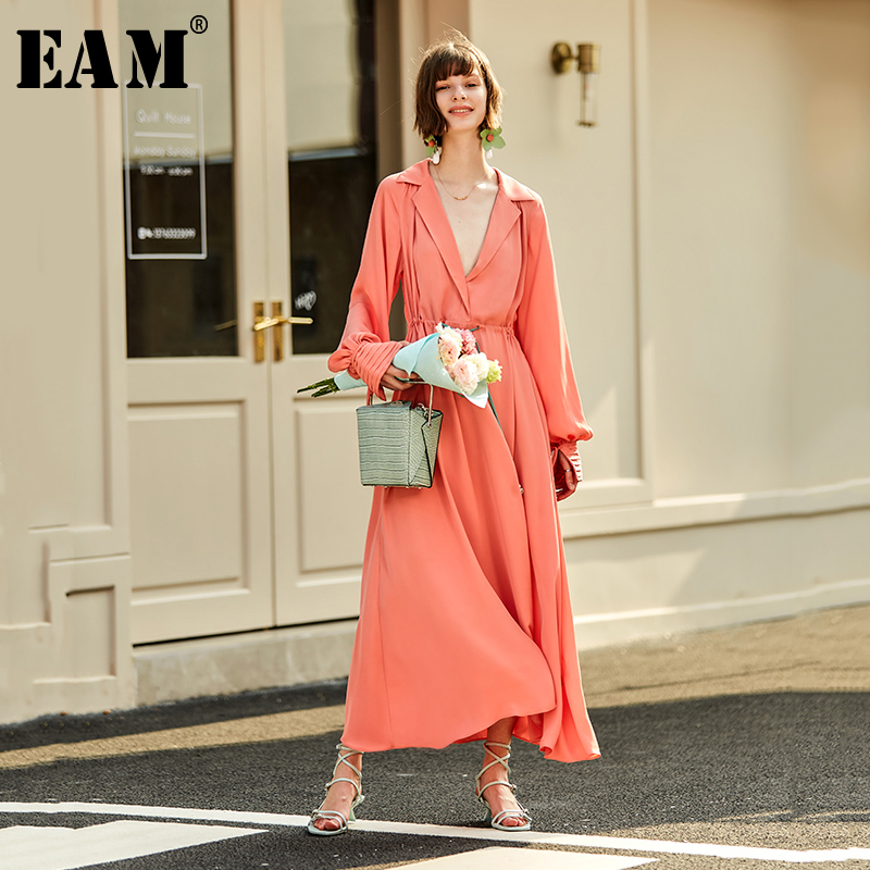 [EAM] Women Brief Bandage Drawstring Pleated Long Dress New Lapel Long Sleeve Loose Fit Fashion Tide Spring Autumn 2020 1S741