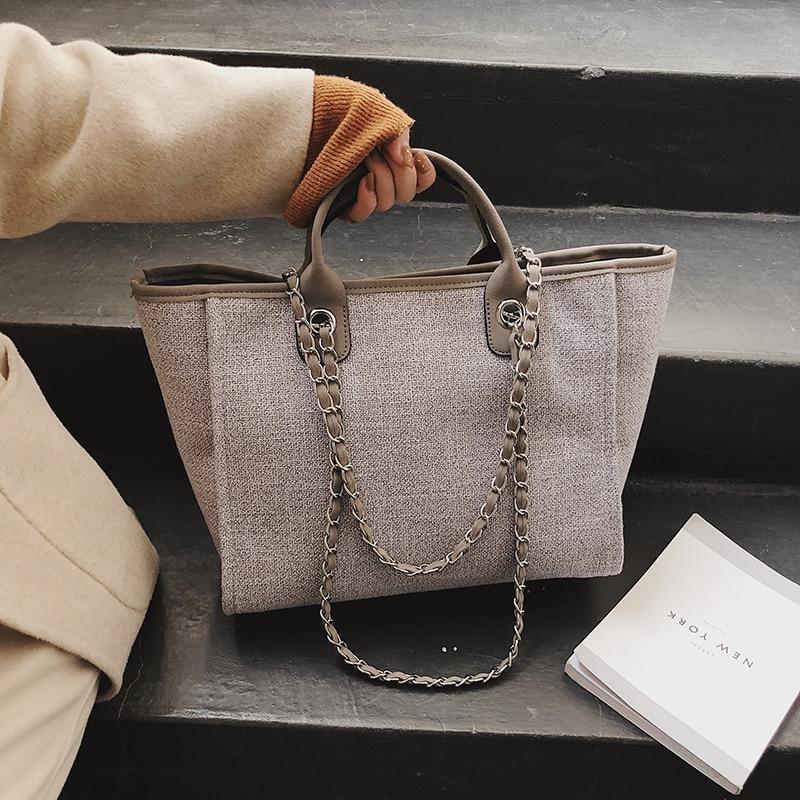 Wholesale To UK New Handbags Chains Shoulder Bags Ladies Fashion Brand Cotton Fabric Women Messenger Bags