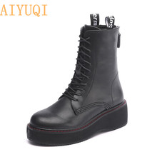 Genuine Leather Female Martin Boots Platform 2019 New Lace Up Boots Women Shoes Ankle Motorcycle Boots For Women