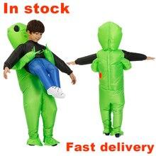 Yeni Alien şişme kostüm yeşil uzaylı yetişkin çocuklar komik havaya uçurmak takım elbise fantezi parti elbisesi unisex parti cosplay cadılar bayramı kostüm