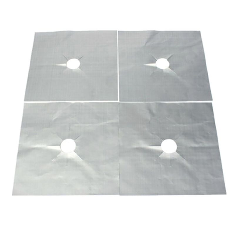 4PCS Reusable Aluminum Foil Gas Stove Burner Cover for Protection from Injuries and Rusting of Stove 1
