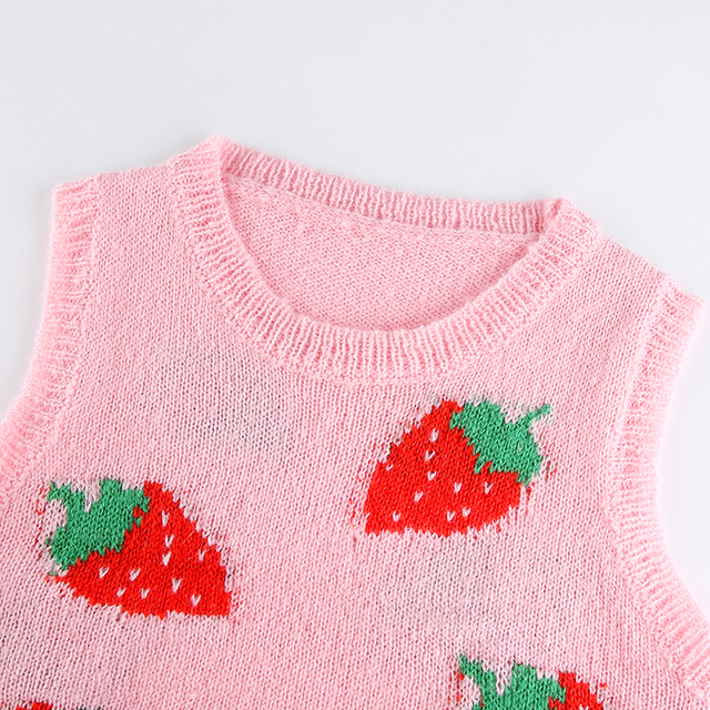 Cute sleeveless sweater with strawberry pattern