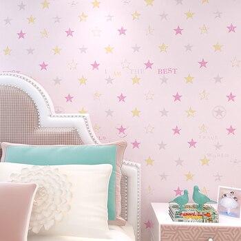 цена на boy little stars princess living room bedroom non-woven wallpaper nordicCartoon children room ceiling wall paper
