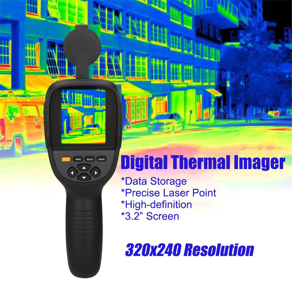 HT-19 3.2'' Handheld Infrared Temperature Heat IR Digital Thermal Imager Detector Camera with Storage 320x240 Resolution