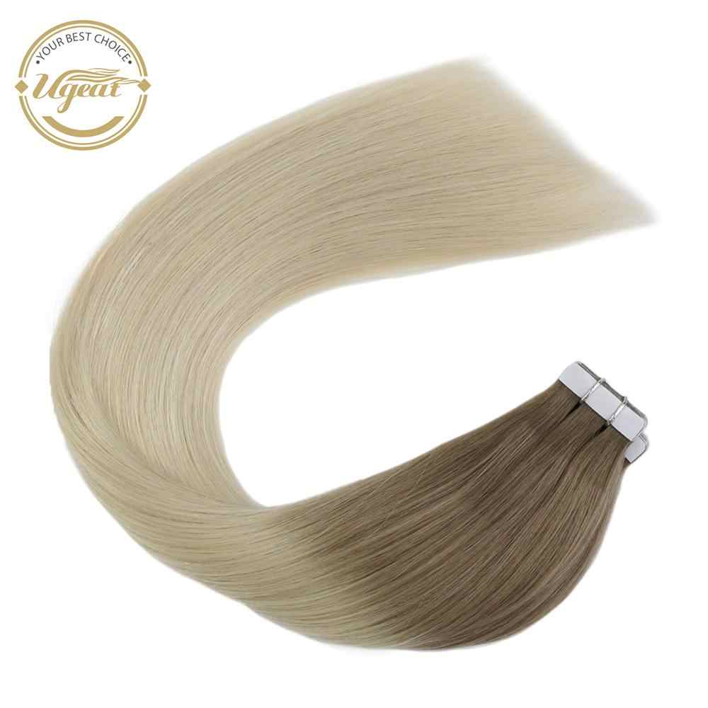 Ugeat Real Tape In Human Hair Extensions Natuurlijke Dubbelzijdig Adhesive Machine Remy Braziliaanse Hair Extensions Ombre Kleur 2.5 G/p