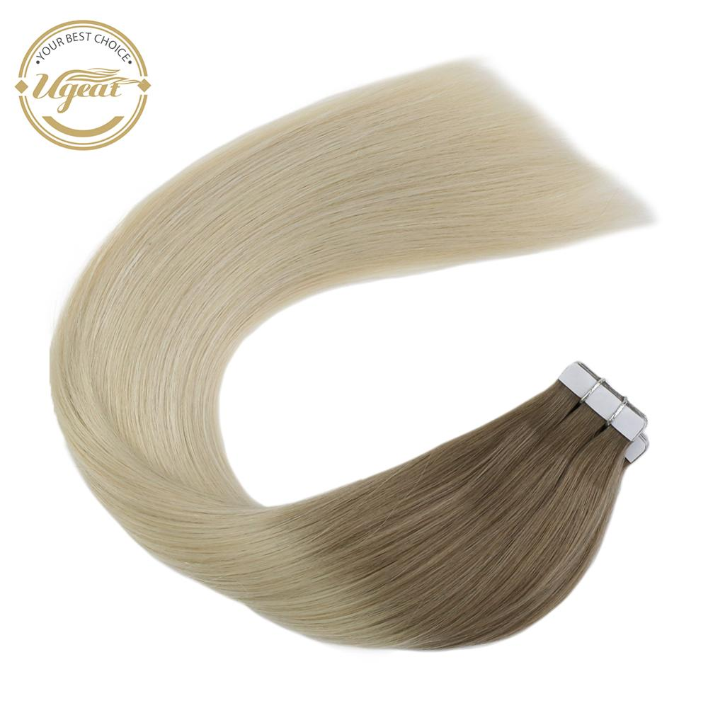 Ugeat Real Tape In Human Natural Hair Extensions Double Sided Adhesive Machine Remy Brazilian Hair Extensions Ombre Color 2.5g/p