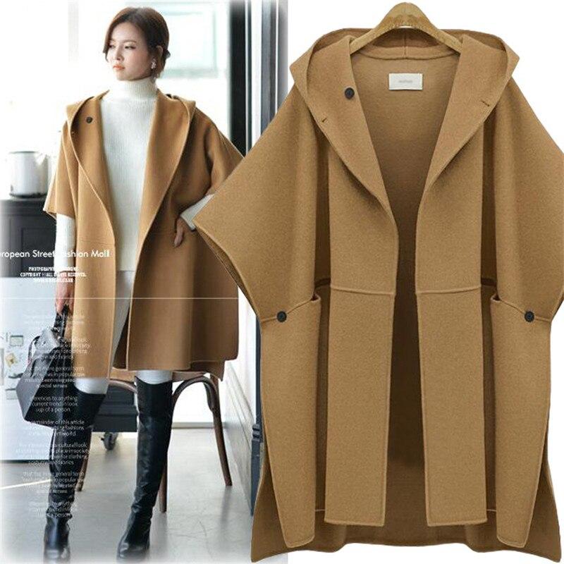 Autumn Winter Coat Women 2019 Casual Plus Size Batwing Sleeve Thick Jackets Female Vintage Loose Warm Wool Coat Casaco Feminino