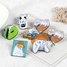 Funny White Cat Lapel Metal Pins Daze Cat Massage butt Alien Face Scooter Brooches Badges Backpack Pins Jewelry Gift For Friends(China)