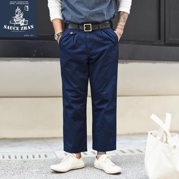 SauceZhan JF05 spodnie do kostek amerykańskie spodnie dorywczo spodnie CHINO spodnie męskie spodnie bojówki spodnie dresowe męskie spodnie tanie i dobre opinie Proste CN (pochodzenie) Mieszkanie COTTON NONE Luźne 28 - 39 W stylu Safari Midweight Twill Kostki długości spodnie Zipper fly