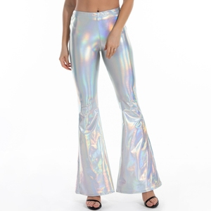 Sexy PU Leather Metallic Pants Shiny Holographic Flare Pants Women Girls Bodycon Elastic Waist Bell Bottom Trousers Clubwear
