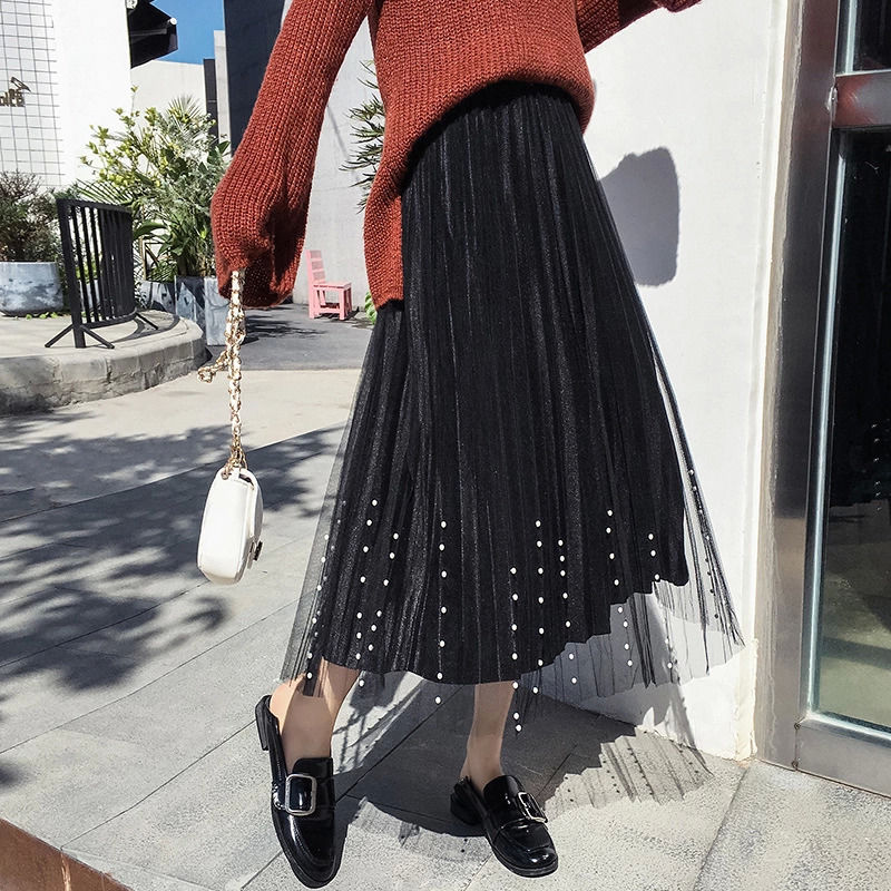 the new high-waisted gold velvet mesh pleated skirt has a long Korean version of the high-waisted slim joker skirt  long skirt