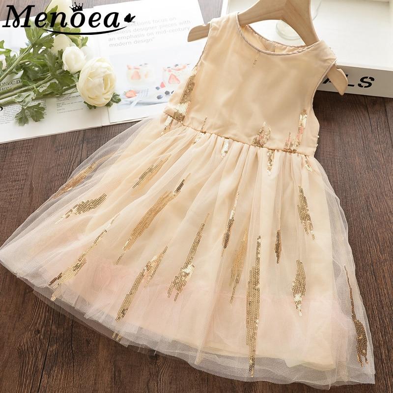 Menoea Girls Lace Dress 2020 Summer Children Mesh Sequins Style Clothes Students Princess Costume Kids Girls Dresses 3-8Y