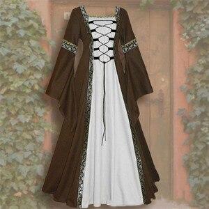 Женское винтажное Сетчатое платье, женское клетчатое платье длиной до пола в стиле ренессанс, готическое платье с длинным рукавом для костюмированной вечеринки, осенние платья 2019