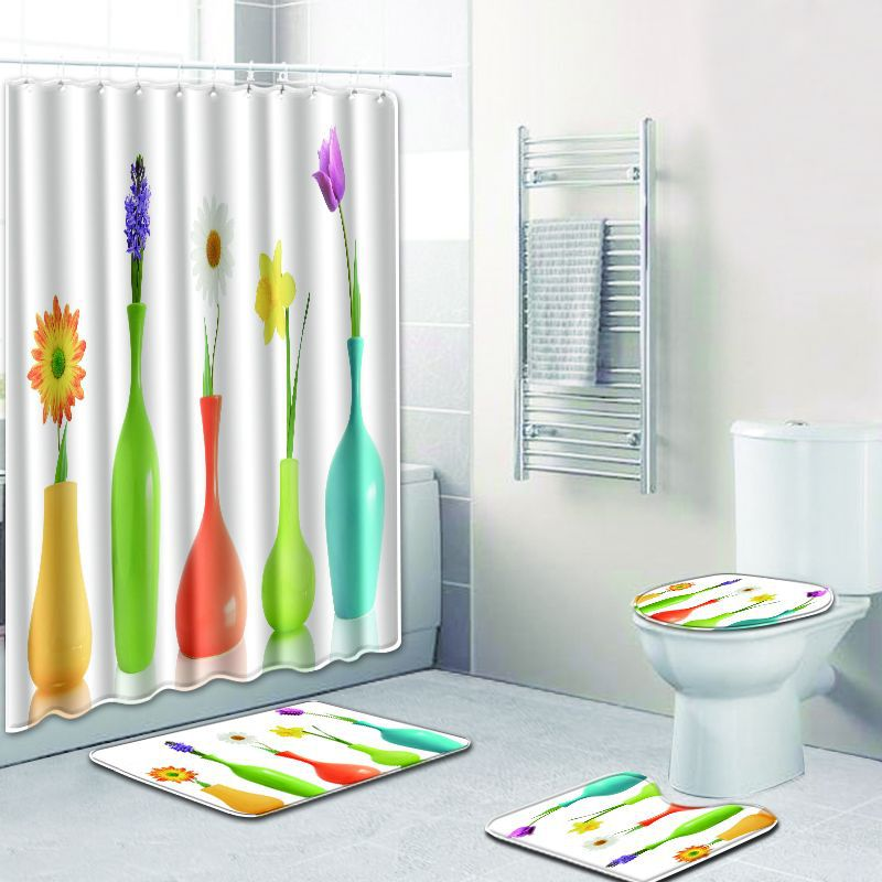 4 pièces/ensemble été plage impression rideau de douche imperméable Polyester antidérapant toilette siège couverture tapis tapis tapis de bain salle de bain rideau