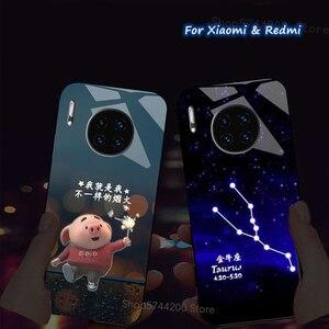 Image 1 - ل شاومي Redmi نوت 9 8 9S 8T 10X 7 6 برو 6A 7A 9A K30 Mi A3 9T 10 لايت الذكية التحكم في الصوت LED فلاش غطاء الهاتف كوكه