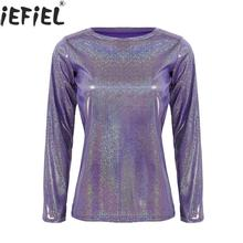 Women Holographic Clothes Metallic Long Sleeves Party Disco Dancewear Tee Shirt Blouse Tops  Festival Rave Pole Dance Costumes