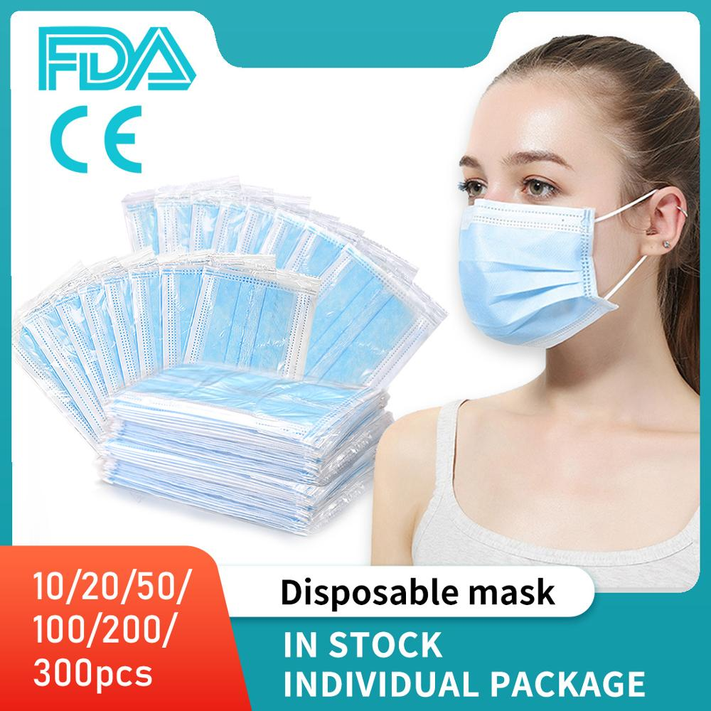 10/20/50/100/200/300 Pcs 3 Layer Non-woven Disposable Mouth Mask Anti Virus Dust Safety Men Women Individual Package Drop Ship