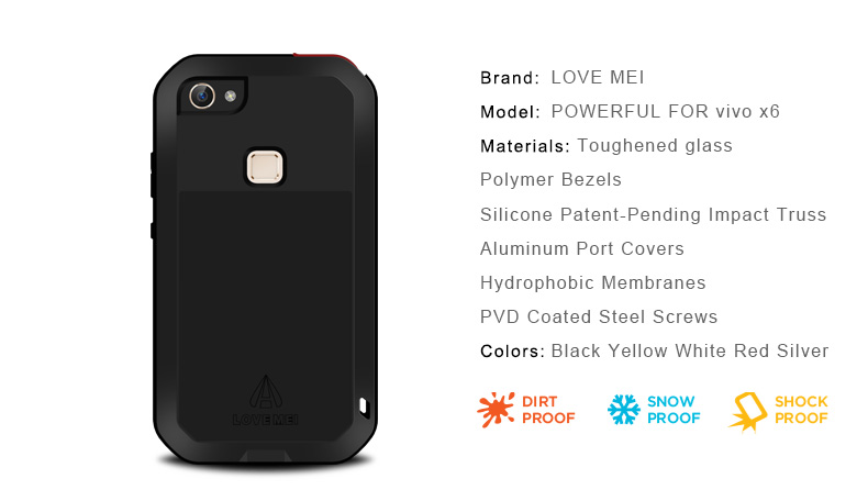 Image 5 - LOVE MEI  Aluminum Metal Case For BBK vivo X6 Armor Shockproof Phone Case Cover For vivo Xplay5 Xshot Tempered Glass Protective-in Fitted Cases from Cellphones & Telecommunications