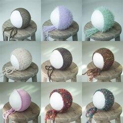 Вязаная шапка для новорожденных, детский чепчик вязаная крючком для девочек, шапочки для мальчиков, разноцветные аксессуары для фотосессии