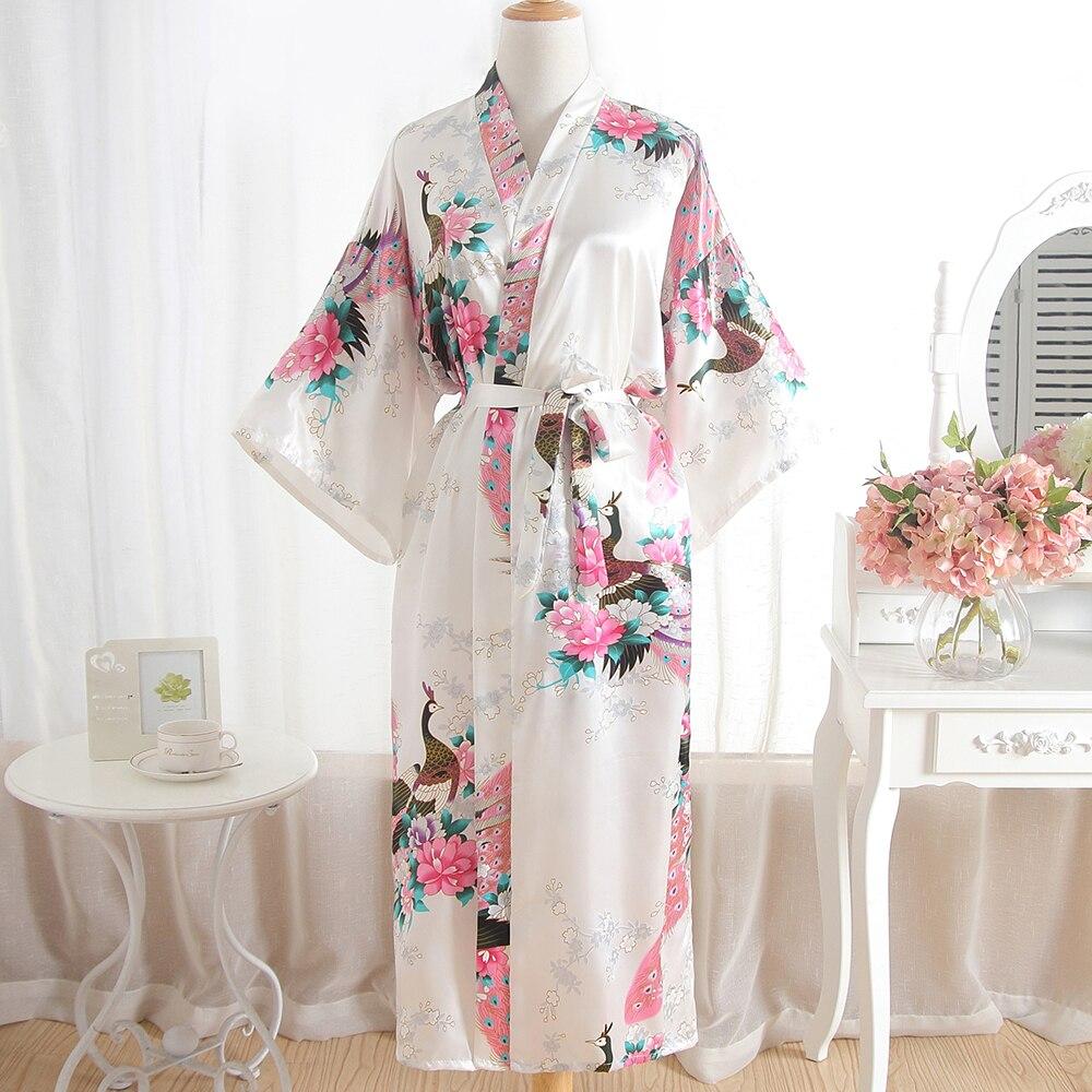 Causal Summer New Wedding Robe For Female White Print Peacock Long Kimono Robe Bathrobe Gown Sexy Sleepwear Intimate Lingerie