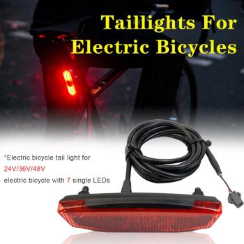 36V/48V Ebike Rear Light/Tail Light LED Safety Warning Rear Lamp For E-scooter SM/ Waterproof Interface Connections ebike light electric bicycle light with headlight and rear light set input 24v 36v 48v 64v led lamp e bike fornt and tail light
