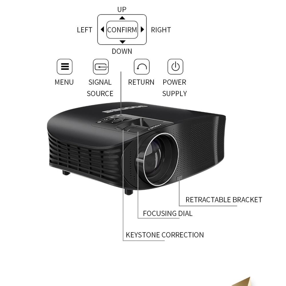 Image 4 - LEJIADA YG600 projektor HD LCD Beamer wsparcie Full HD 1080P YG610 kino domowe hdmi vga USB wideo przenośny projektor led    -