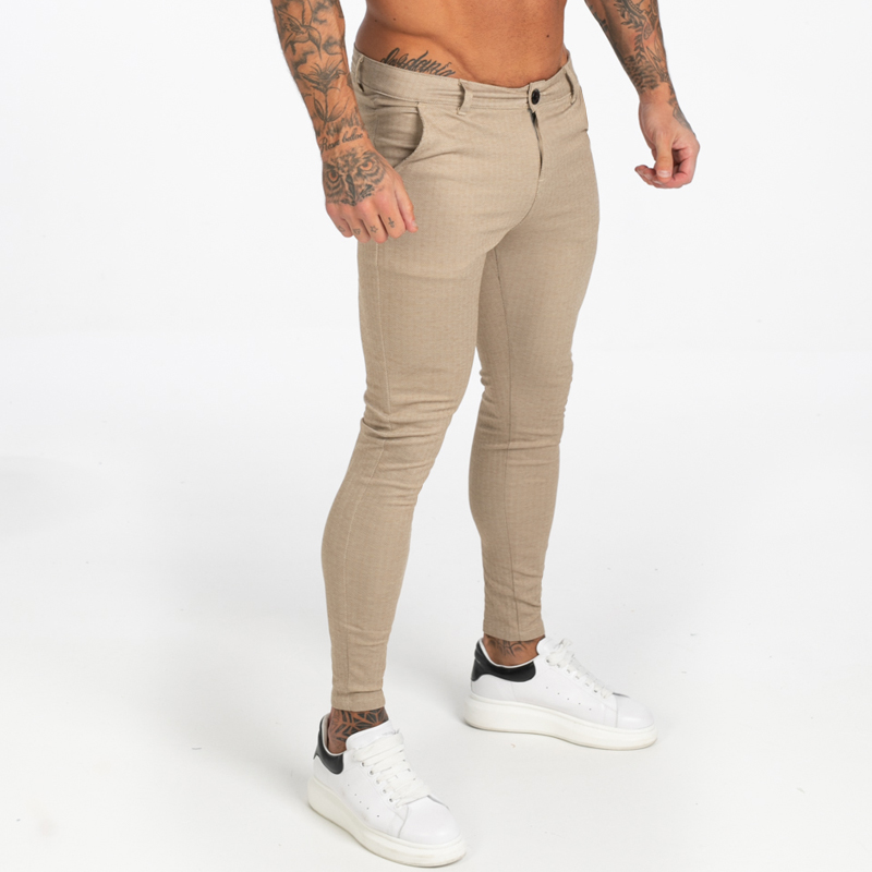 GINGTTO Mens Chinos Skinny Khaki Chinos Trousers For Men Stretchy Pants Casual Ankle Tight Fit Street Fashion Zm376