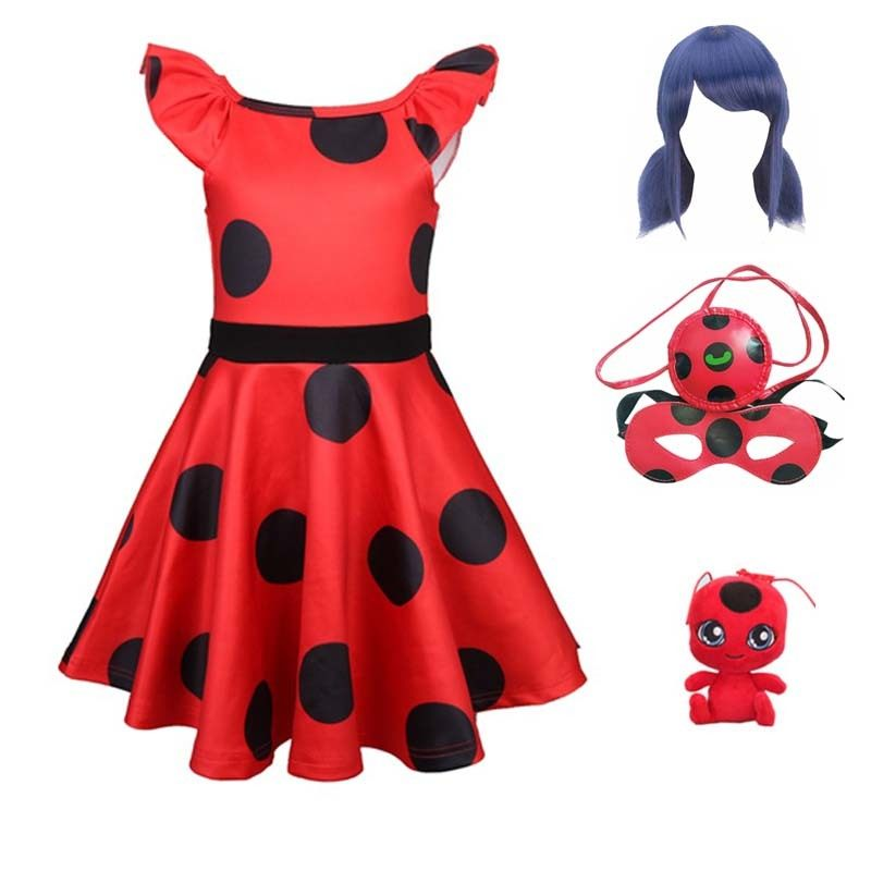 Marinette Ladybug Cosplay Red Pretty Girls Dress Summer Clothes Lady Bug Party Dress Children's Dot Baby Girls Dresses Costumes