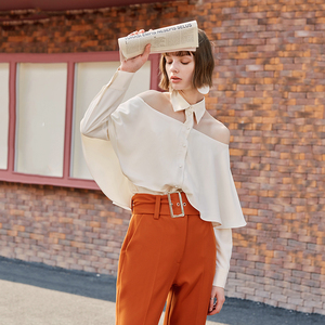 [EAM] Women Strapless Ruffle Backless Blouse New Lapel Long Sleeve Loose Fit Shirt Fashion Tide Spring Autumn 2020 1B148