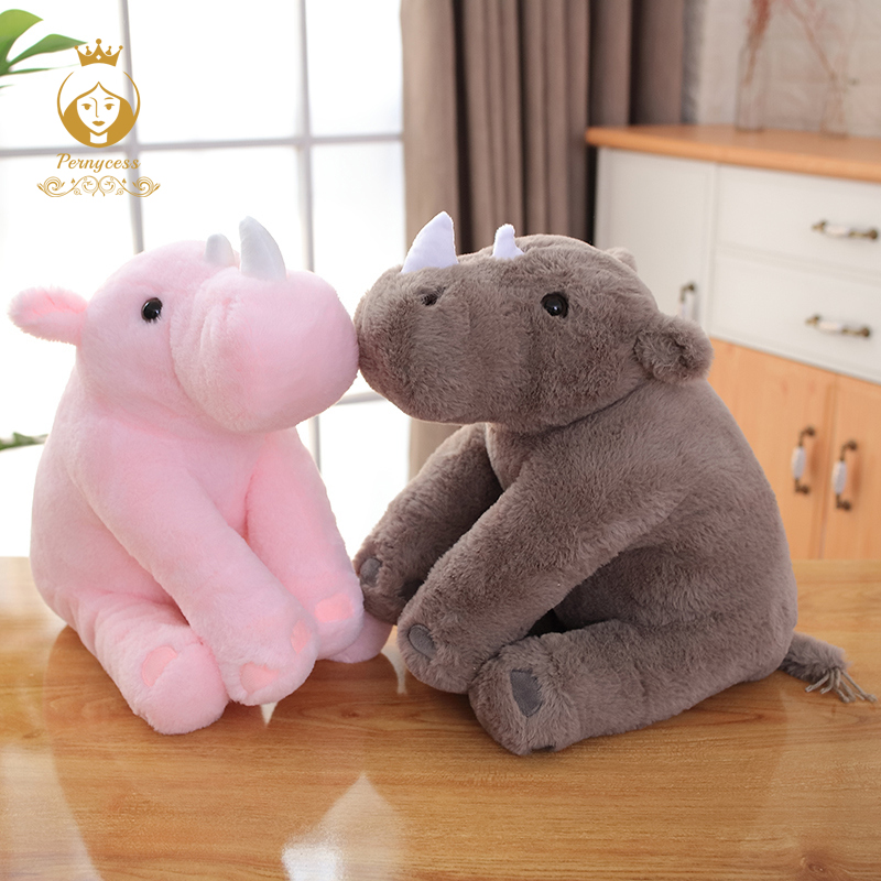 1PCS 40/60cm Simulation Rhino Plush Toy Soft Stuffed Animal Doll Kids Toy Peluche Rhino Doll Christmas Gifts