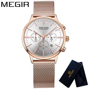Image 2 - MEGIR Women Watch Waterproof Top Brand Luxury Chronograph Ladies Wristwatch Stainless Steel Classic Bracelet Female Clock 2011
