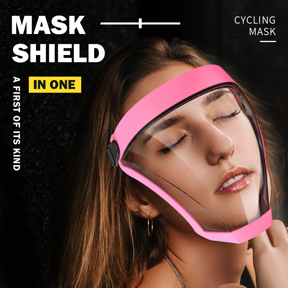 PE Full Face Shield Reusable Mask For Men Women's Face Mask Protective 3D Clear Removable Washable Cycling Mask Black