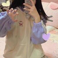 Sudadera con capucha Kawaii para chica, ropa para Parte Superior Femenina, con bordado, estilo coreano, suelta e informal, para Otoño e Invierno