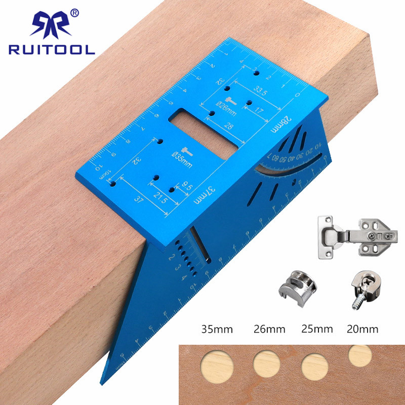 Dowel Jig 20-35mm Woodworking Mounting Hinge Jig Accurate Carpenter Measuring Tool Drill Guide
