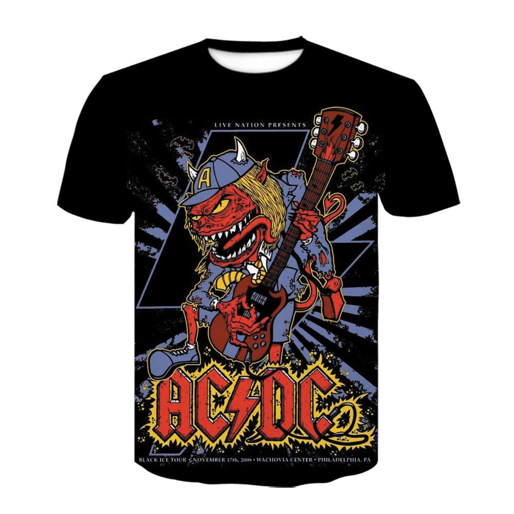2020 New Hot Sales Fashion Men's ACDC Rock Band T Shirt Men 3D Print Vintage T-shirt Summer Black T Shirts Camiseta Masculina