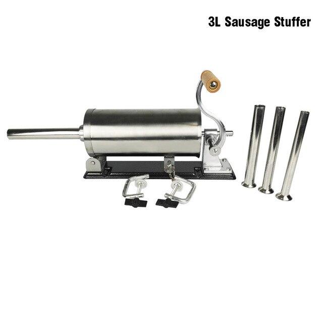 3L Horizontal Sausage Stuffer Filler Stainless Steel Homemade Table Sausage Maker Kitchen Tool Meat Processor Sausage Maker