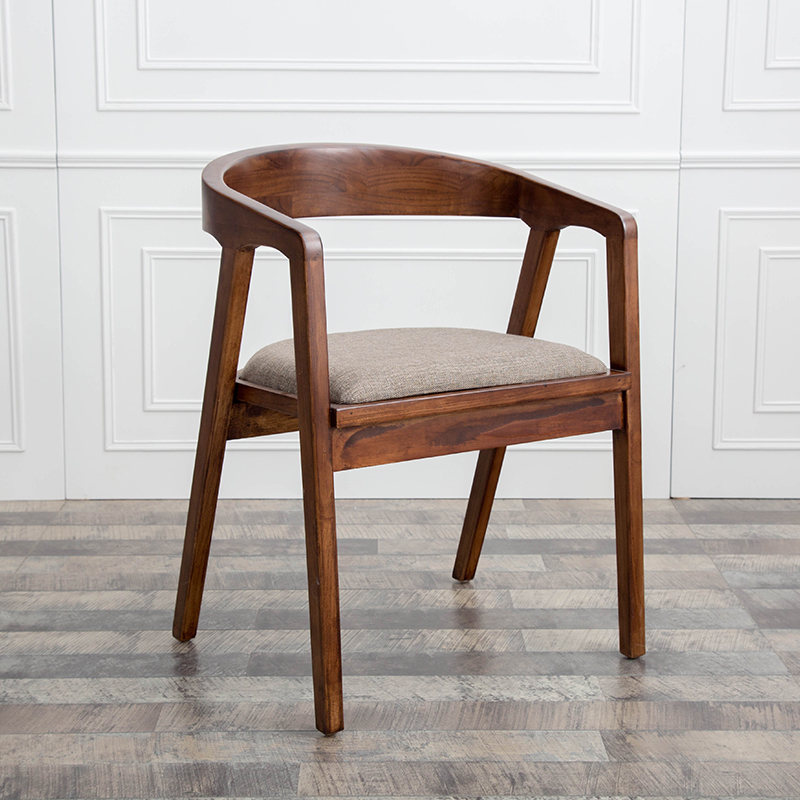 Nordic Solid Wood Dining Chair Iron Art Simple Computer Desk Chair Coffee Shop Leisure Chair President Chair Back Office Chair