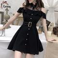 Cotday Short Sleeve Spring Single Breasted Shirt Style Vestidos Strapless Belt Straight Collar Women Dress Sweet Black Mini