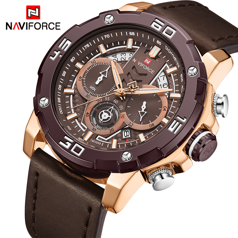 Mens Watches NAVIFORCE Waterproof Stainless Steel Quartz Watch Men Chronograph Military Sport Clock Wristwatch Relogio Masculino