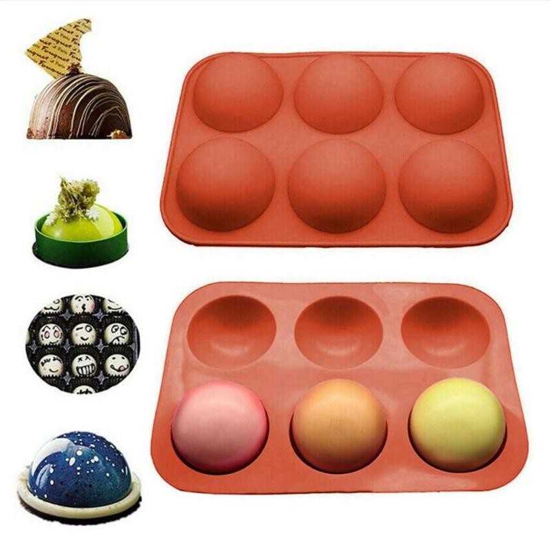Форма силиконовая для выпечки «сделай сам», 6 половинных колец, полусферическая форма для шоколада, кексов, тортов, кастрюль, декоративная ф...