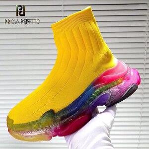 Носки для отдыха; ботинки; радужные женские ботинки на платформе; прозрачные трикотажные эластичные короткие ботинки на плоской подошве; ды...