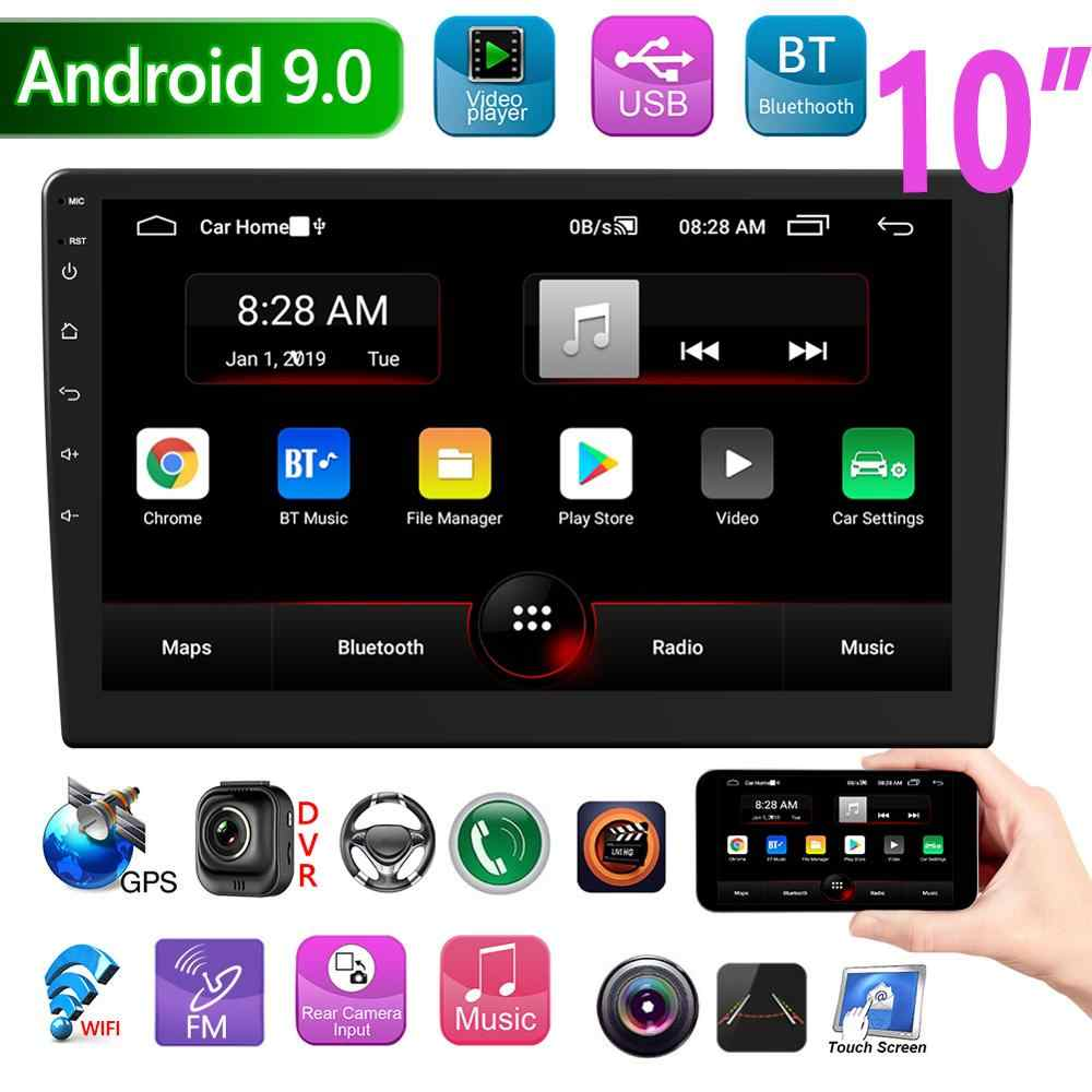 P9 Double Din Android 9.0 Car Stereo Gps Navigasi Bluetooth WIFI FM Radio 10 Inch IPS Layar Di Dash Kepala unit Penerima