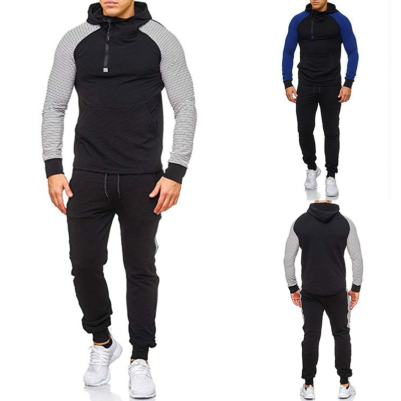 2019 Ouma Men's New Style Stripes Zip Hoodie Stripes Athletic Pants Two-Piece Set Loose-Fit