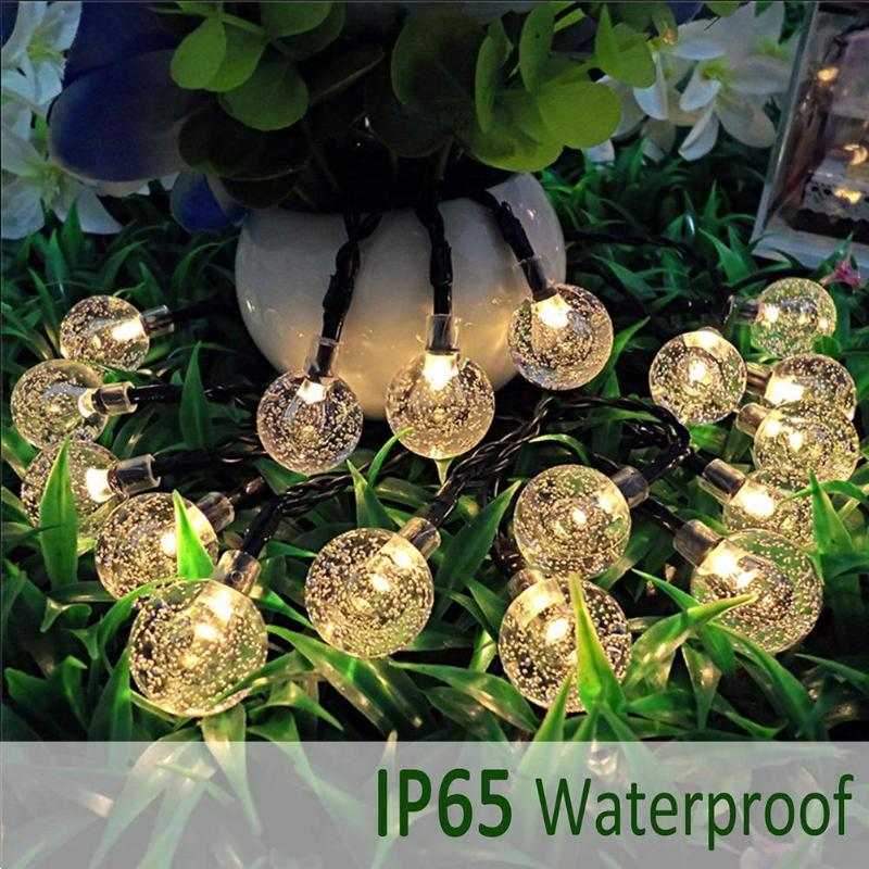 50 LEDs 10m Solar Lamp Crystal Ball LED String Lights Flash Waterproof Fairy For Outdoor Garden Christmas Wedding Decoration